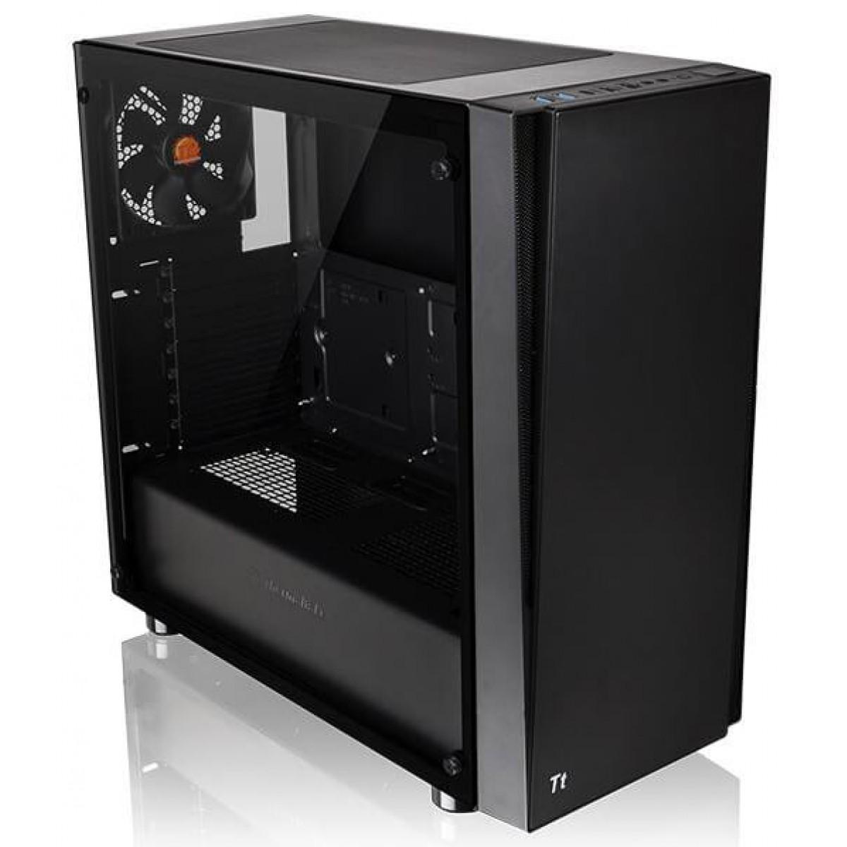 Gabinete Gamer Thermaltake Versa J21 TG, Mid Tower, Sem Fan, Vidro Temperado, Black, Com Fonte 600w, CA-3K1-60M1WZ-00