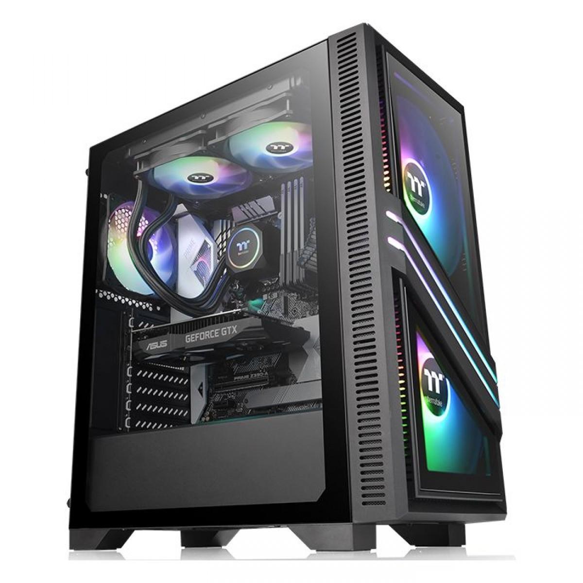 Gabinete Gamer Thermaltake Versa T35 TG RGB, Mid Tower, Vidro Temperado, Black, ATX, Sem Fonte, Com 1 Fan, CA-1R7-00M1WN-00