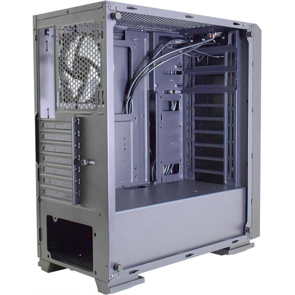 Gabinete Gamer K-mex Fox RGB, Mid Tower, Com 1 Fan, Vidro Temperado, Black, S-Fonte, CG-06RB