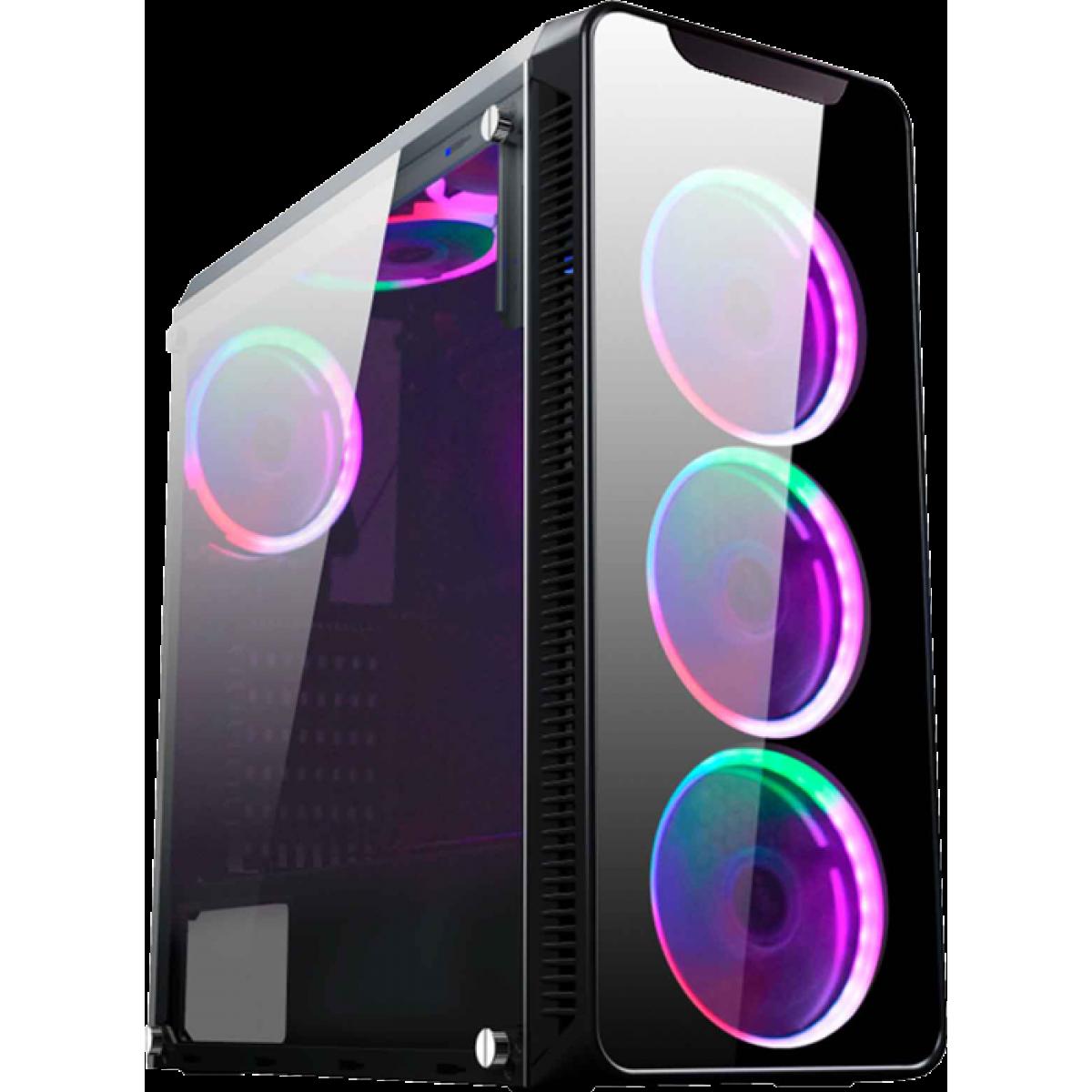 Gabinete Gamer K-mex Infinity I, Mid Tower, Com 3 Fans, Lateral de Acrílico, Black, S-Fonte, CG-01G8
