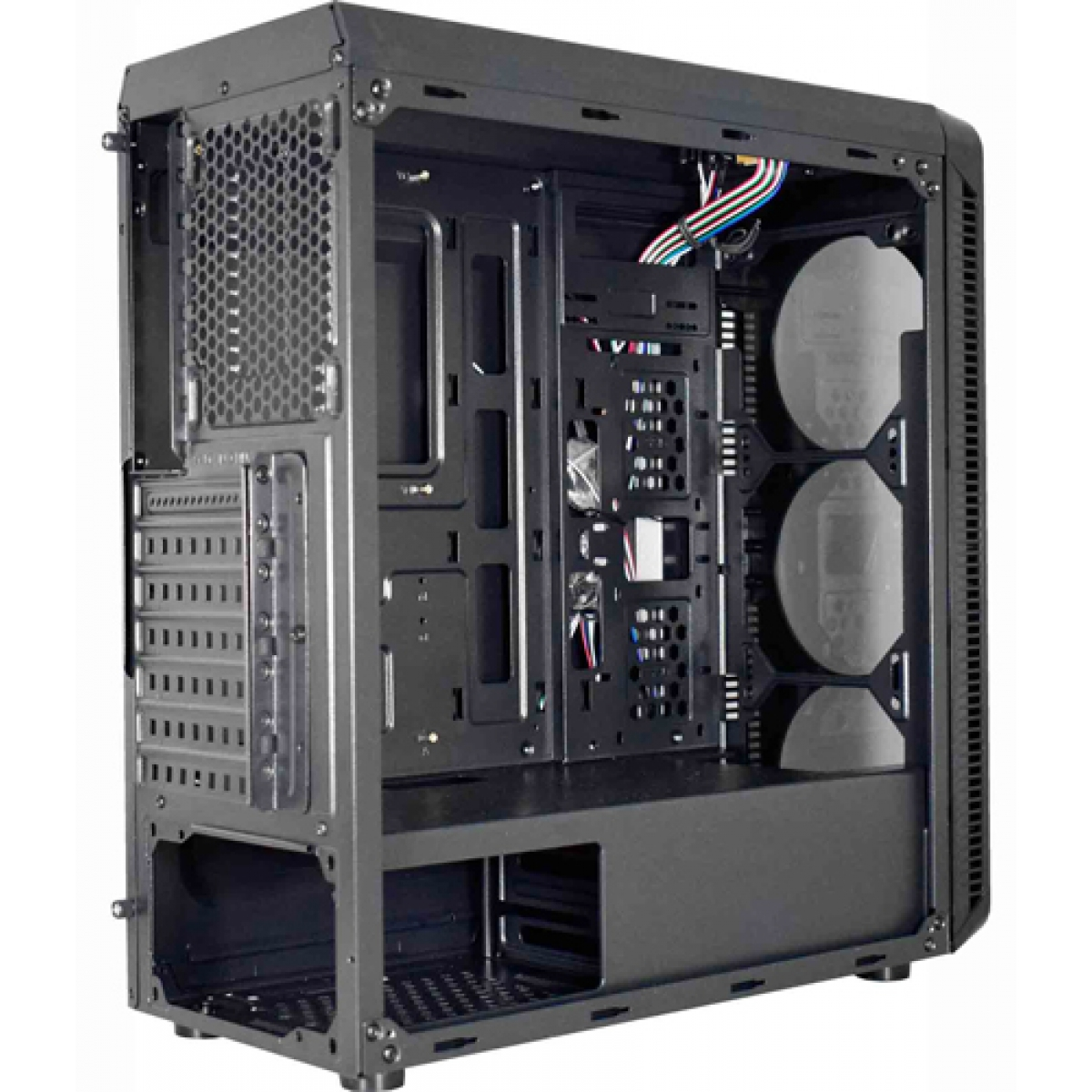 Gabinete Gamer K-mex Infinity III, Mid Tower, Com 3 Fans RGB, Lateral em Acrílico, Black, S-Fonte, CG-03G8