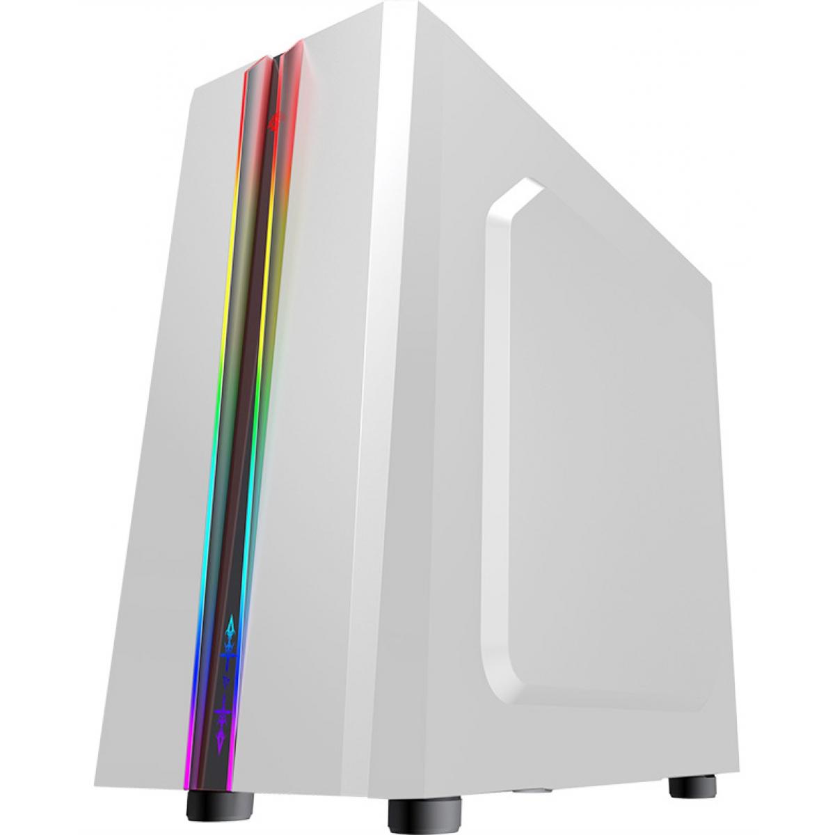 Gabinete Gamer K-mex Odyssey RGB, Mid Tower, Lateral de Acrílico, White, S-Fonte, CG-05RD
