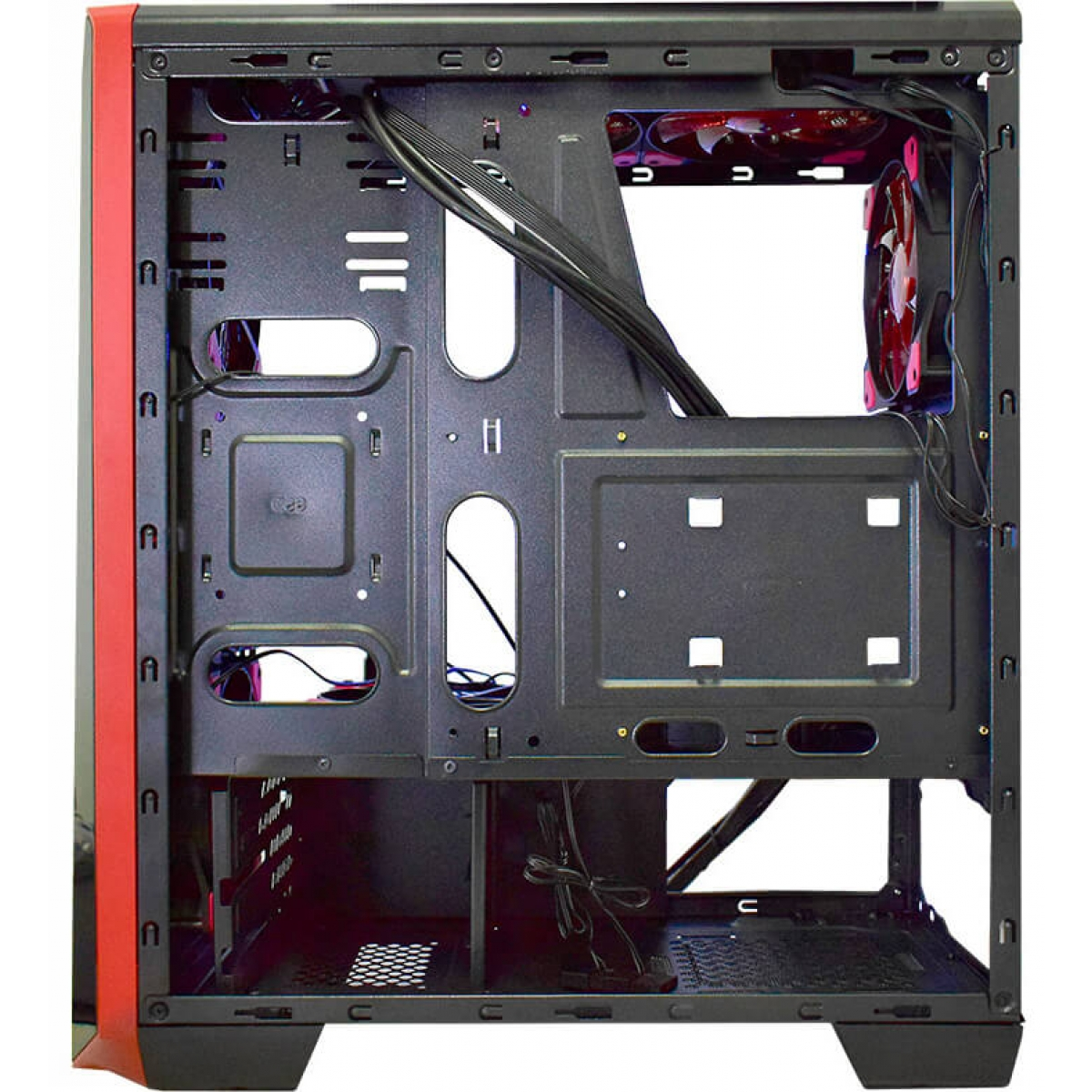 Gabinete Gamer K-mex Vamp, Mid Tower, Com 3 Fans Red, Lateral de Acrílico, Black. S-Fonte, CG-05P9
