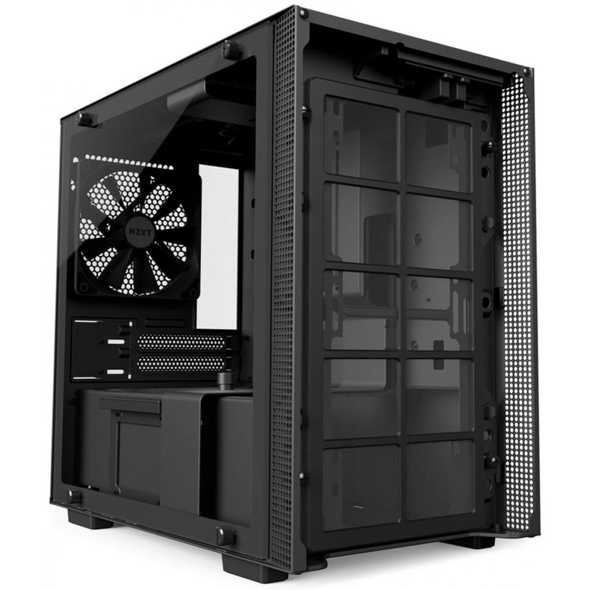 Gabinete Gamer NZXT H200, Mini Tower, Com 2 Fans, Vidro Temperado, Black, Sem Fonte, CA-H200B-B1