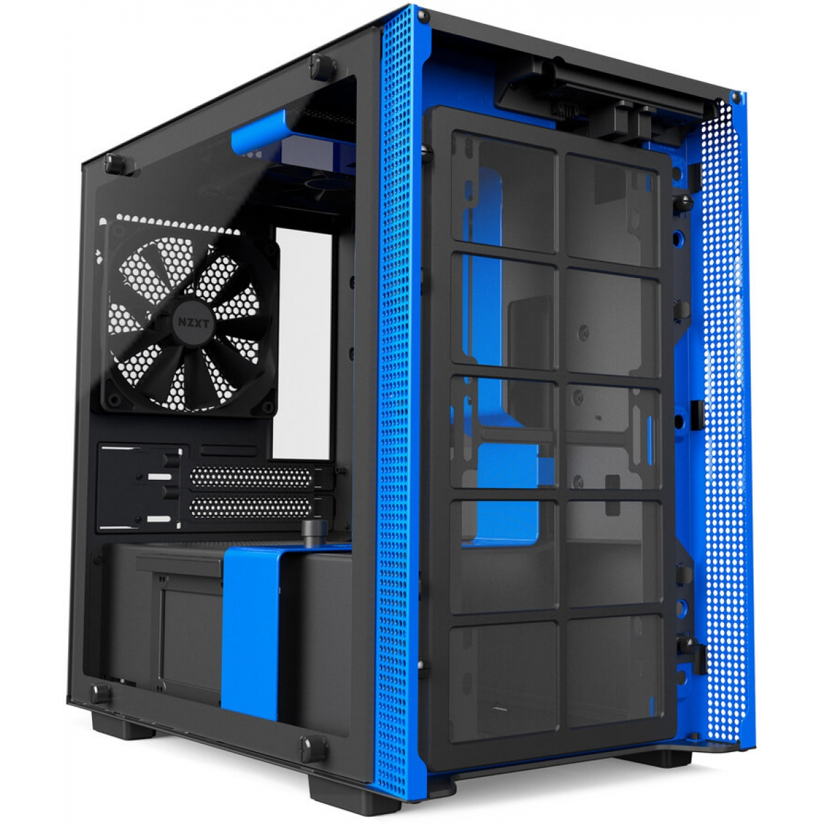 Gabinete Gamer NZXT H200, Mini Tower, Com 2 Fans, Vidro Temperado, Black-Blue, Sem Fonte, CA-H200B-BL
