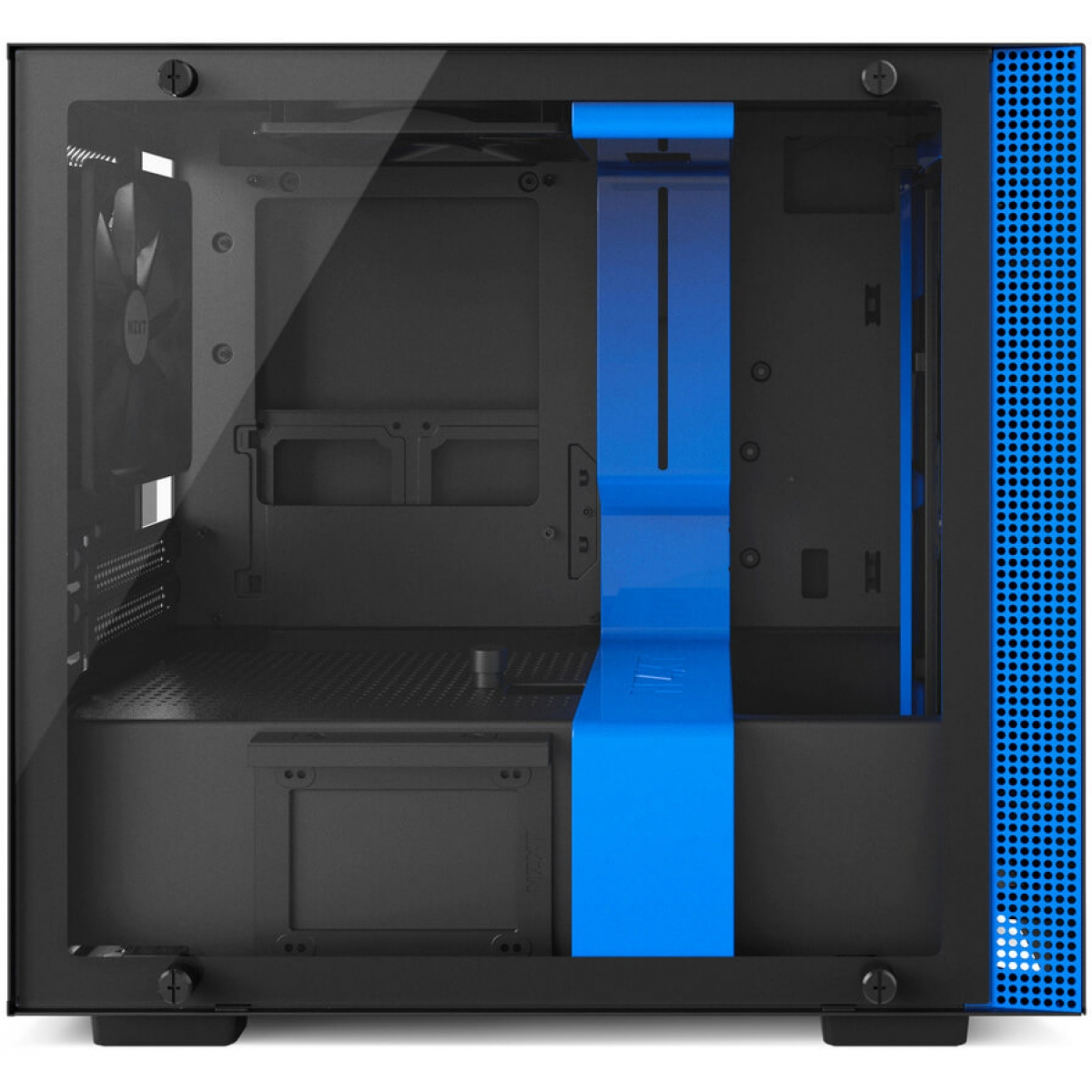 Gabinete Gamer NZXT H200, Mini Tower, Com 2 Fans, Vidro Temperado, Black-Blue, S-Fonte, CA-H200B-BL