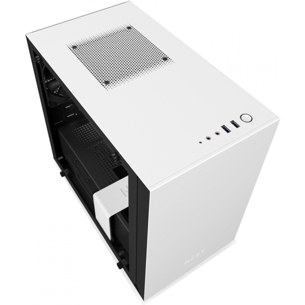 Gabinete Gamer NZXT H200i Smart, Mid Tower, Com 2 Fans, Vidro Temperado, White, Sem Fonte, CA-H200W-WB