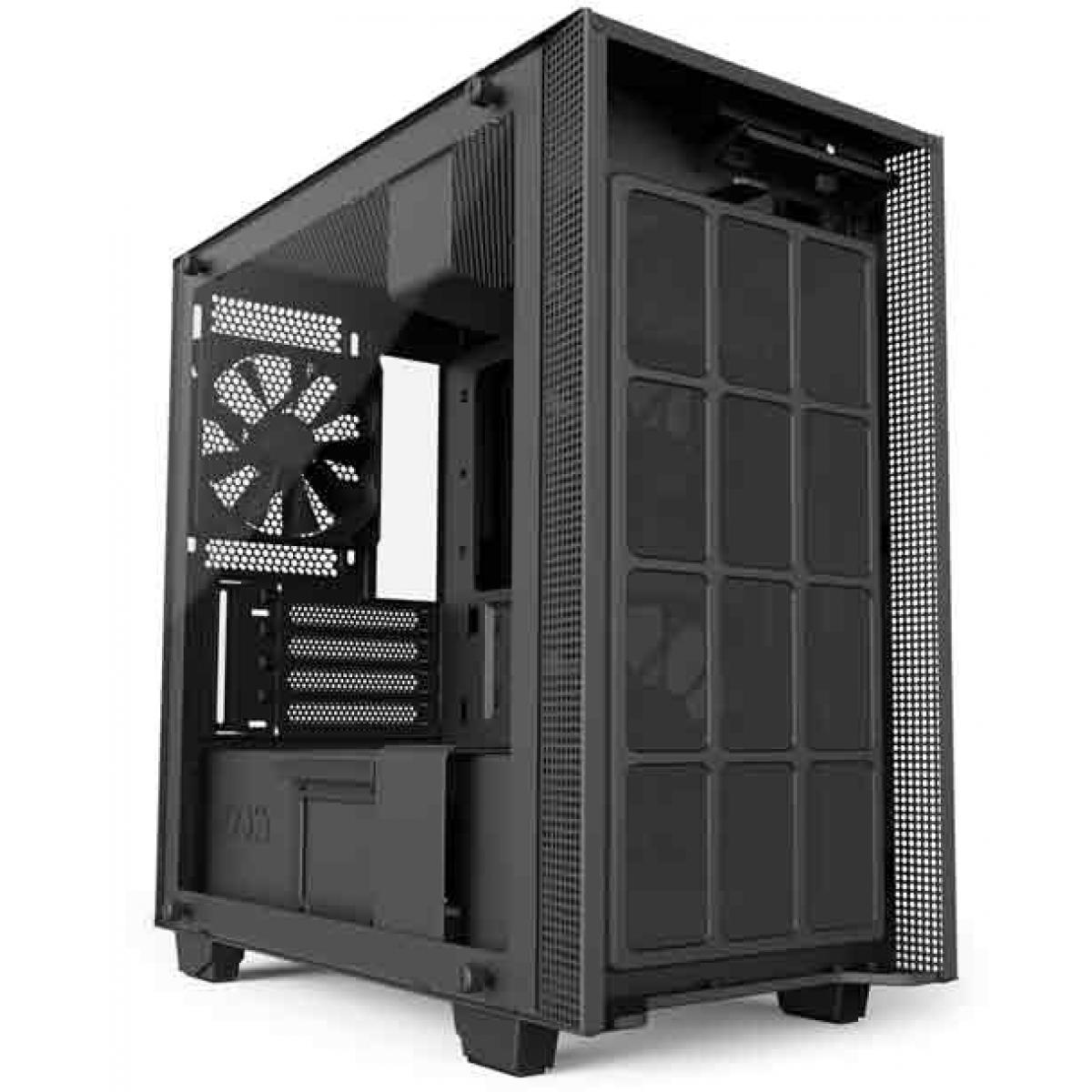 Gabinete Gamer NZXT H400I, Mid Tower, Com 3 Fans, Vidro Temperado, Black, Sem Fonte, CA-H400W-BB