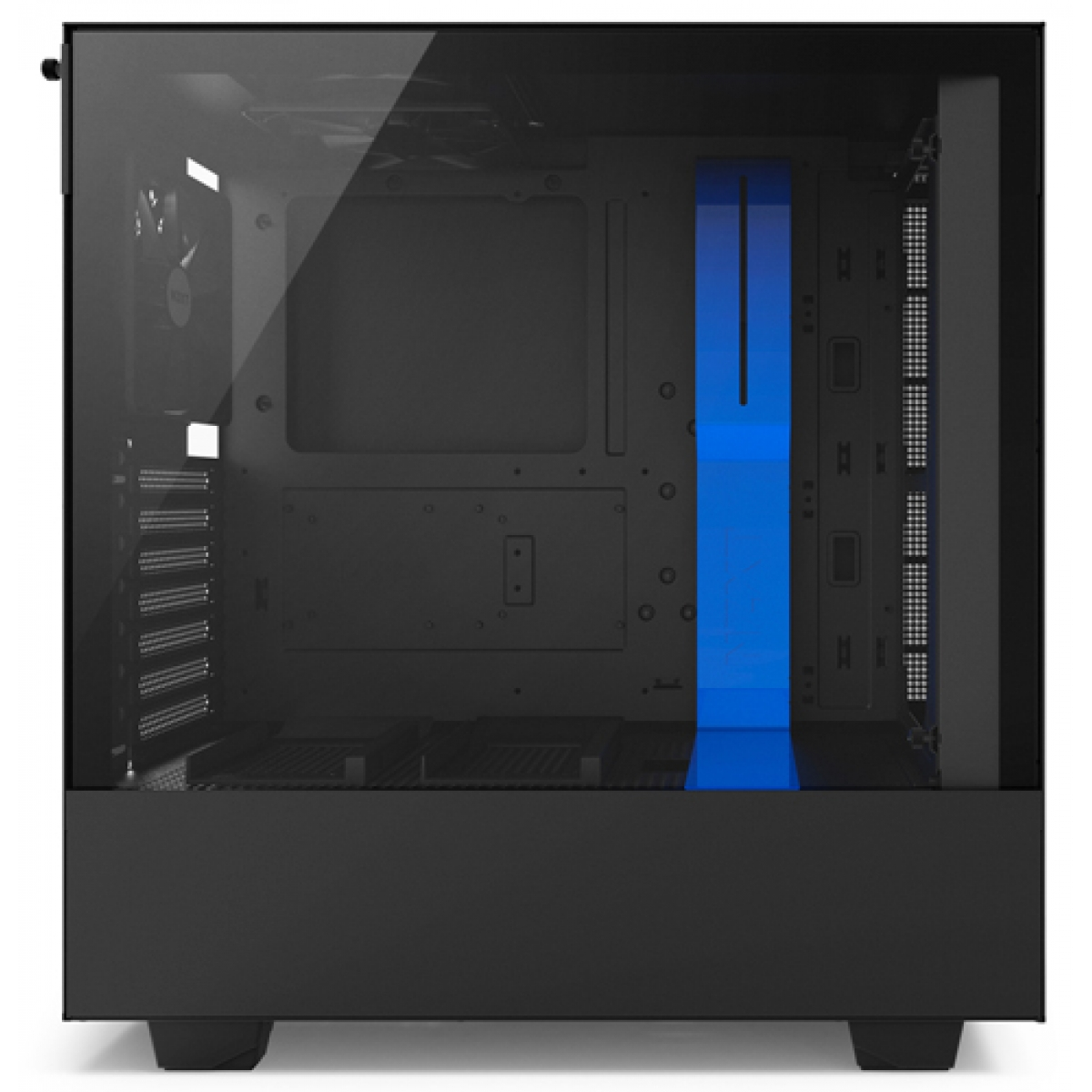 Gabinete Gamer NZXT H500, Mid Tower, Com 2 Fans, Vidro Temperado, Black-Blue, Sem Fonte, CA-H500B-BL