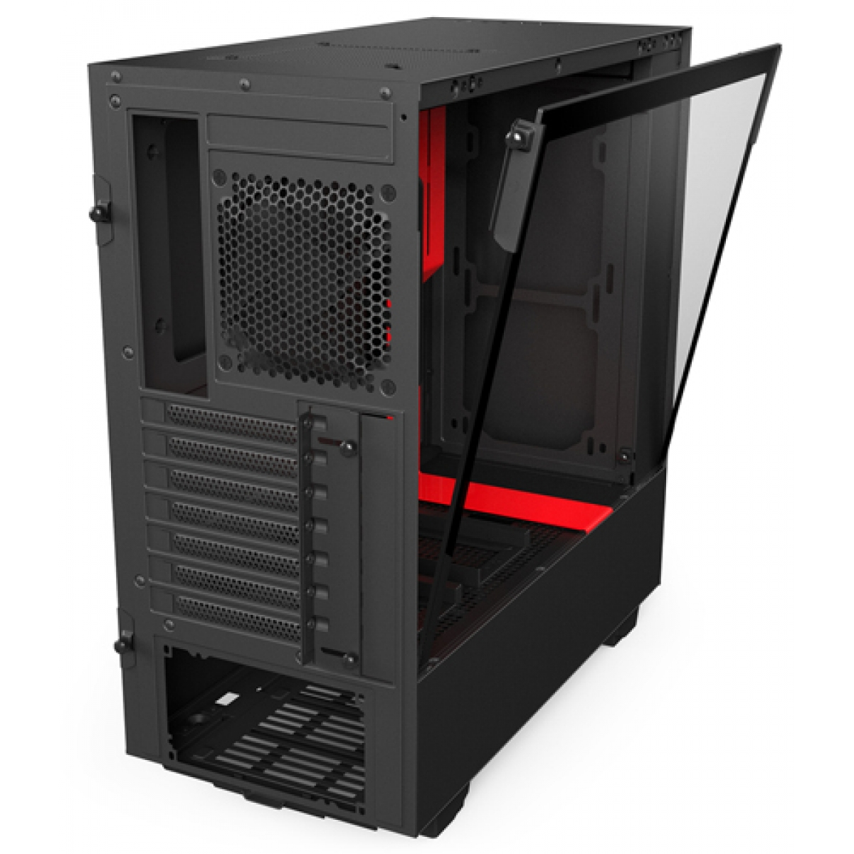 Gabinete Gamer NZXT H500, Mid Tower, Com 2 Fans, Vidro Temperado, Black-Red, Sem Fonte, CA-H500B-BR