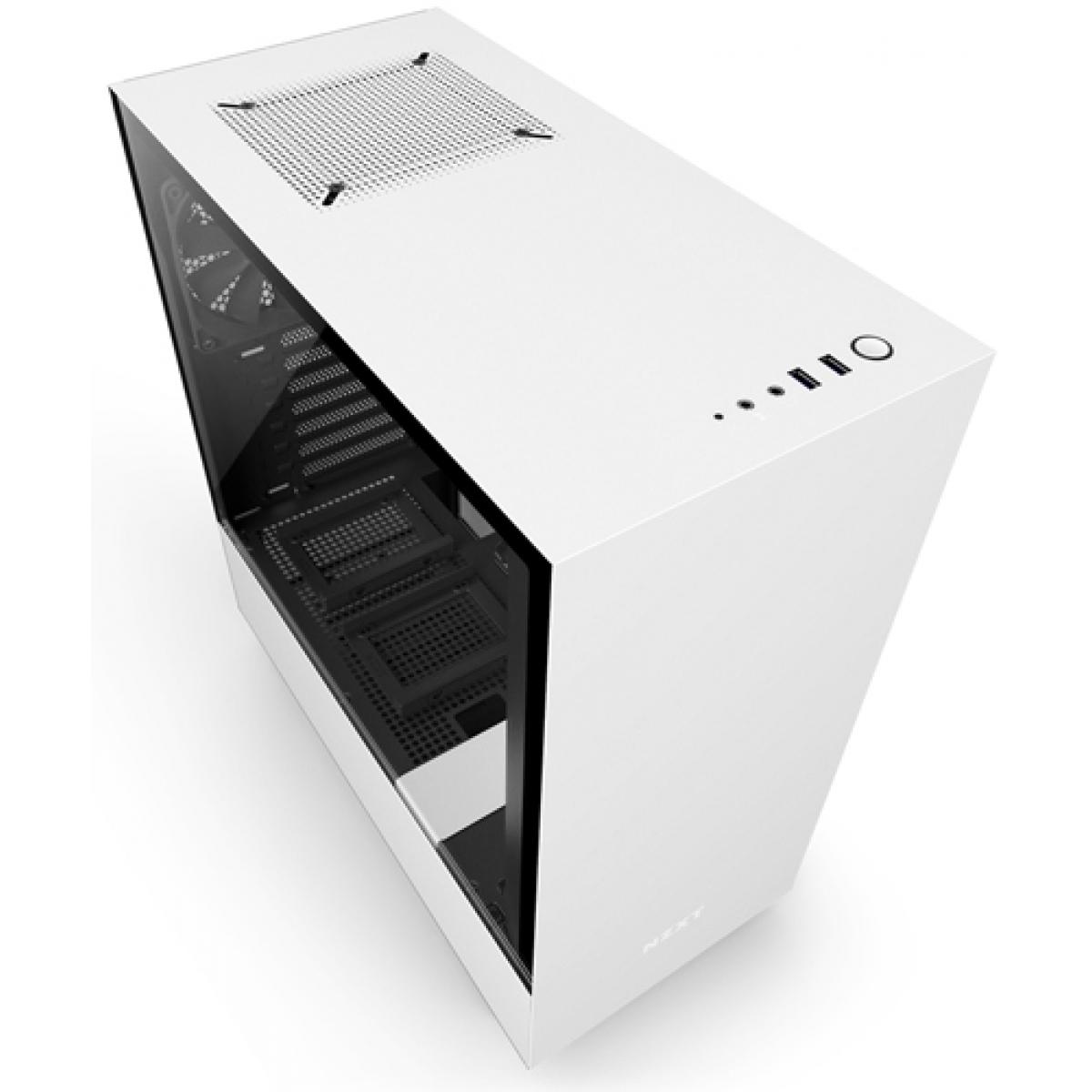 Gabinete Gamer NZXT H500, Mid Tower, Com 2 Fans, Vidro Temperado, White, Sem Fonte, CA-H500B-W1