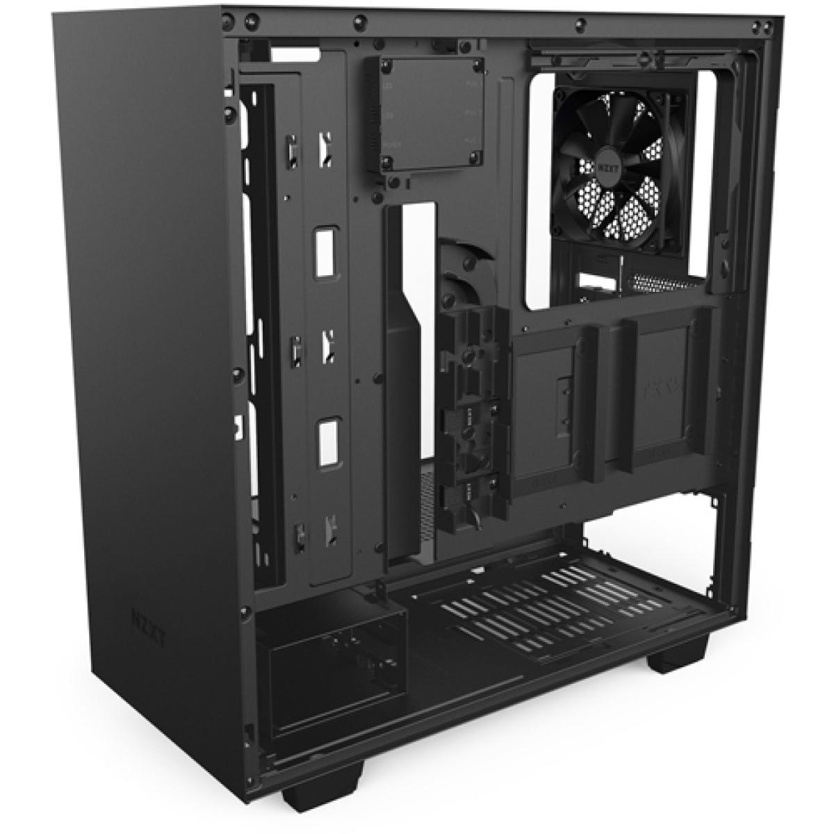 Gabinete Gamer NZXT H500I, Mid Tower, Com 2 Fans, Vidro Temperado, Black, Sem Fonte, CA-H500W-B1
