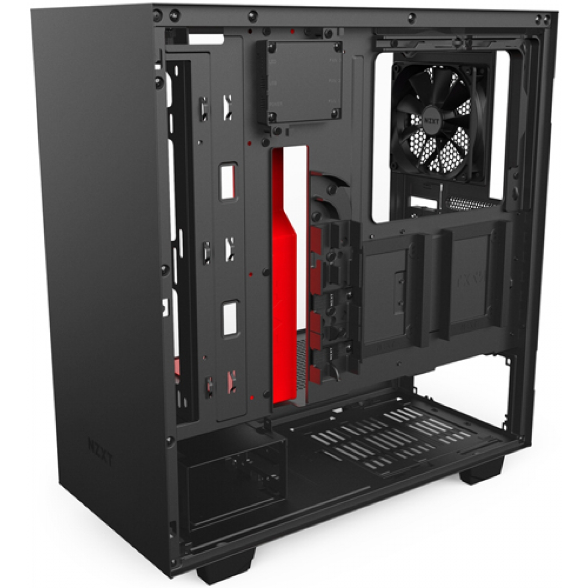 Gabinete Gamer NZXT H500I, Mid Tower, Com 2 Fans, Vidro Temperado, Black-Red, Sem Fonte, CA-H500W-BR