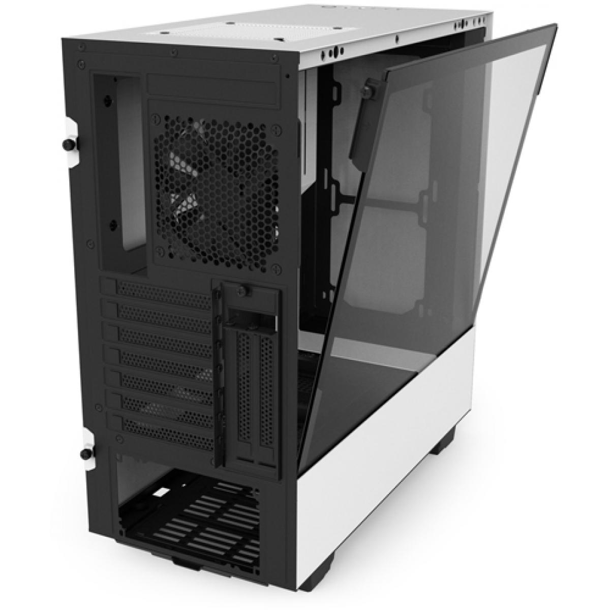Gabinete Gamer NZXT H500I, Mid Tower, Com 2 Fans, Vidro Temperado, White, Sem Fonte, CA-H500W-W1