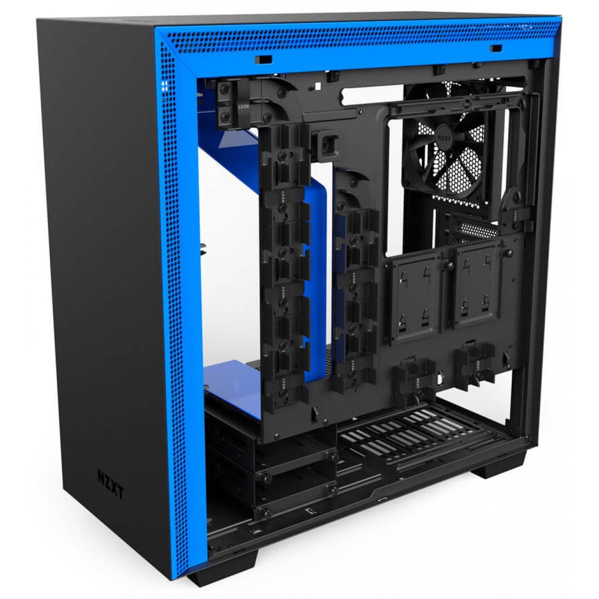 Gabinete Gamer NZXT H700, Mid Tower, Com 4 Fans, Vidro Temperado, Black-Blue, S-Fonte, CA-H700B-BL