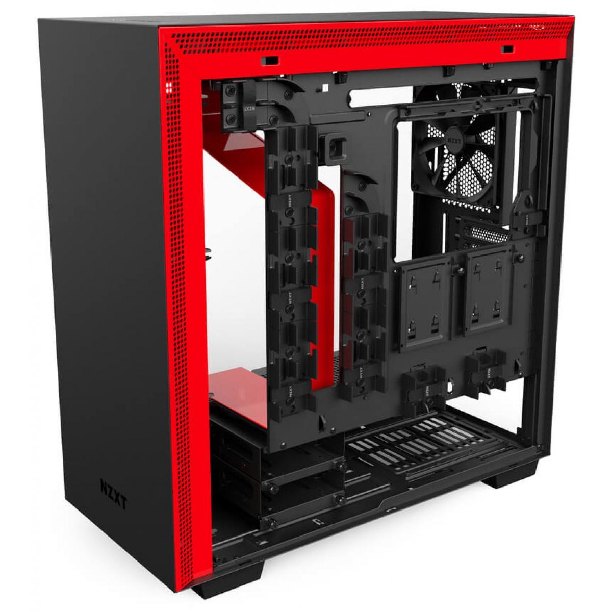 Gabinete Gamer NZXT H700, Mid Tower, Com 4 Fans, Vidro Temperado, Black-Red, Sem Fonte, CA-H700B-BR