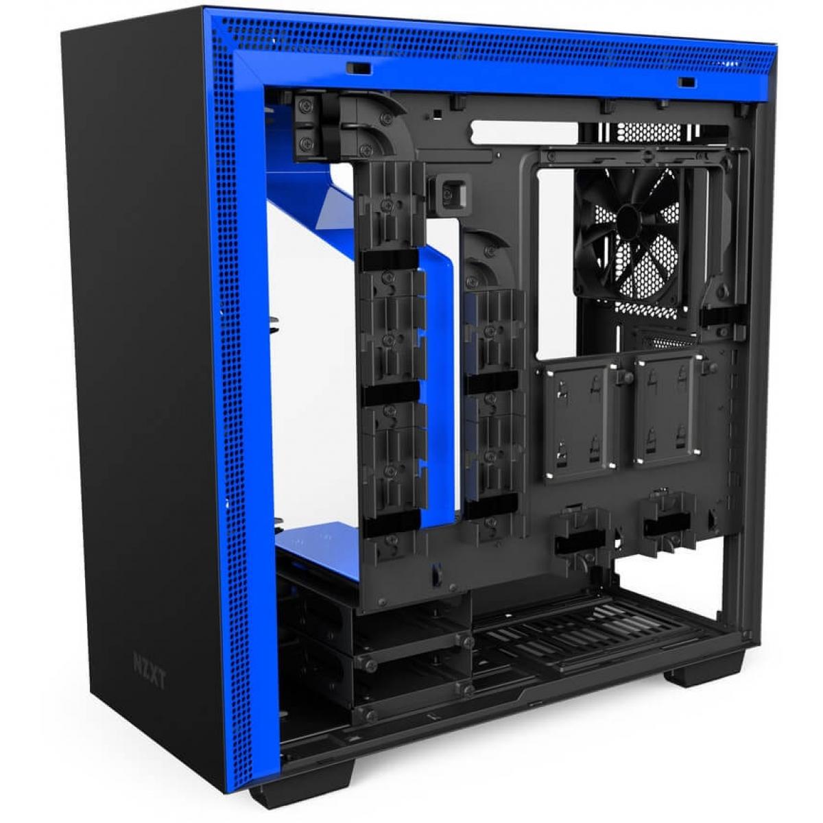 Gabinete Gamer NZXT H700i, Mid Tower, Com 4 Fans, Vidro Temperado, Black-Blue, Sem Fonte, CA-H700W-BL
