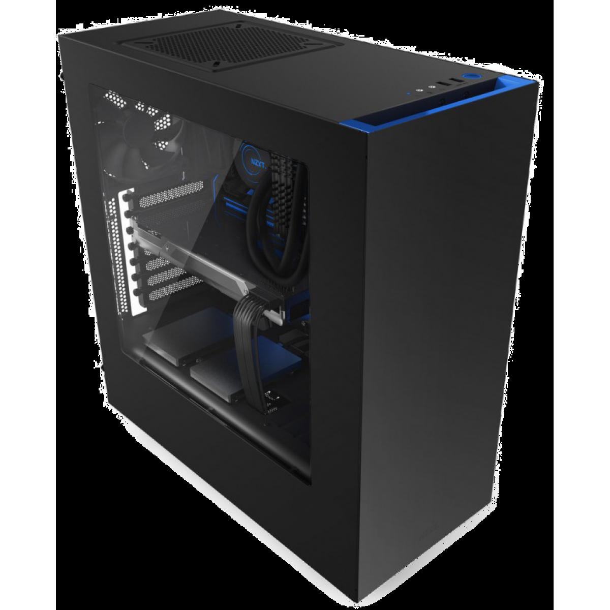 Gabinete Gamer NZXT S340, Mid Tower, Com 2 Fans, Vidro Temperado, Black-Blue, Sem Fonte, CA-S340MB-GB