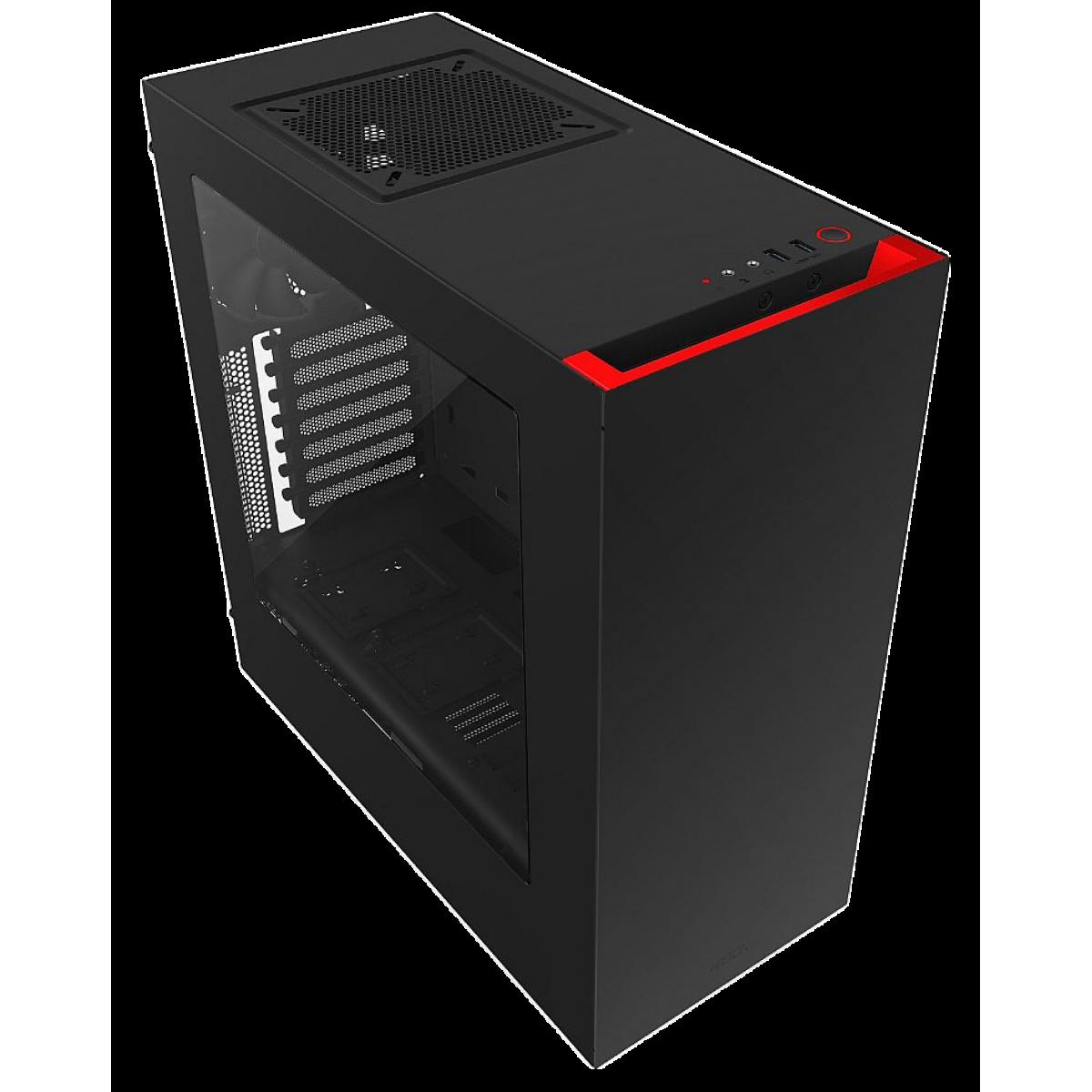 Gabinete Gamer NZXT S340, Mid Tower, Com 2 Fans, Vidro Temperado, Black-Red, S-Fonte, CA-S340MB-GR
