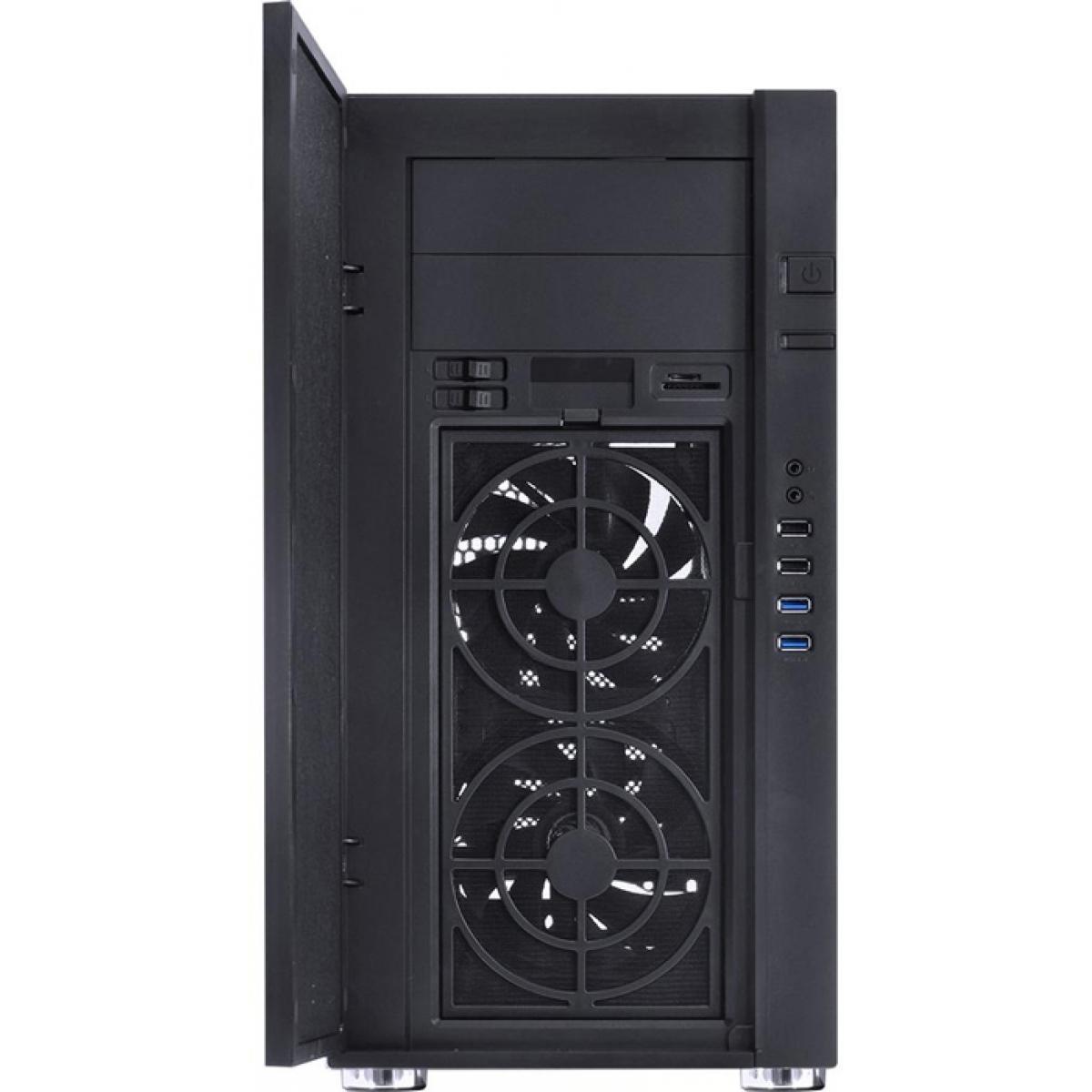 Gabinete Gamer PCyes Jaguar, Mid Tower, Com 2 Fans, Black, S-Fonte, JAGV22FSA