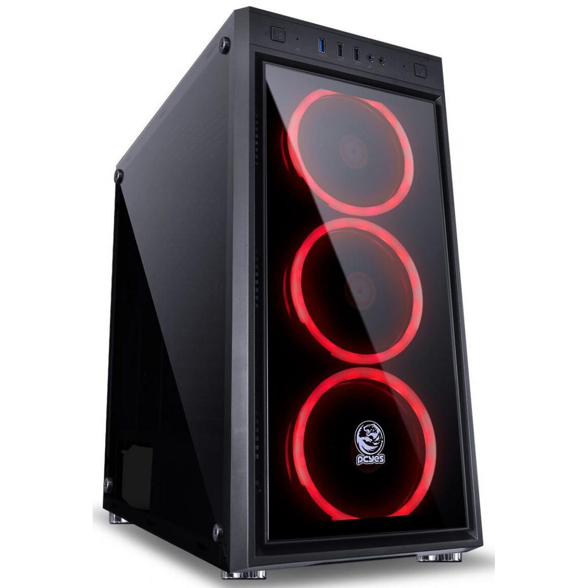 Gabinete Gamer PCyes Jupiter, Mid Tower, Com 3 Fans RGB, Vidro Temperado, Black, S-Fonte, JUPPT7C3FCV