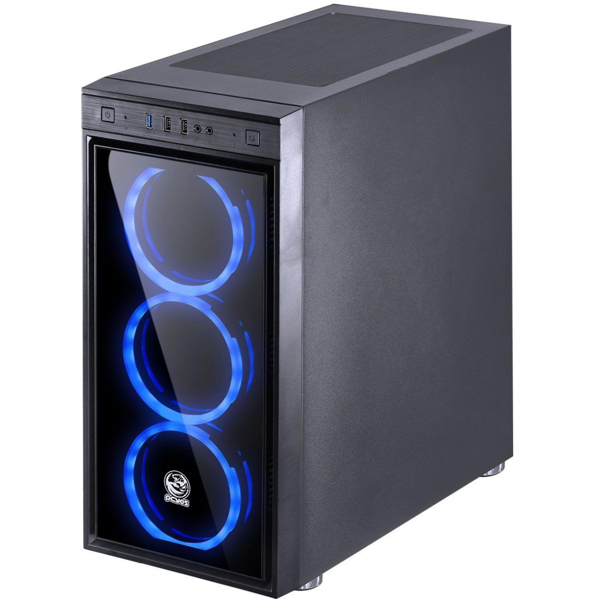 Gabinete Gamer PCyes Jupiter, Mid Tower, Com 3 Fans Blue, Vidro Temperado, Black, S-Fonte,  JUPPTAZ3FCV