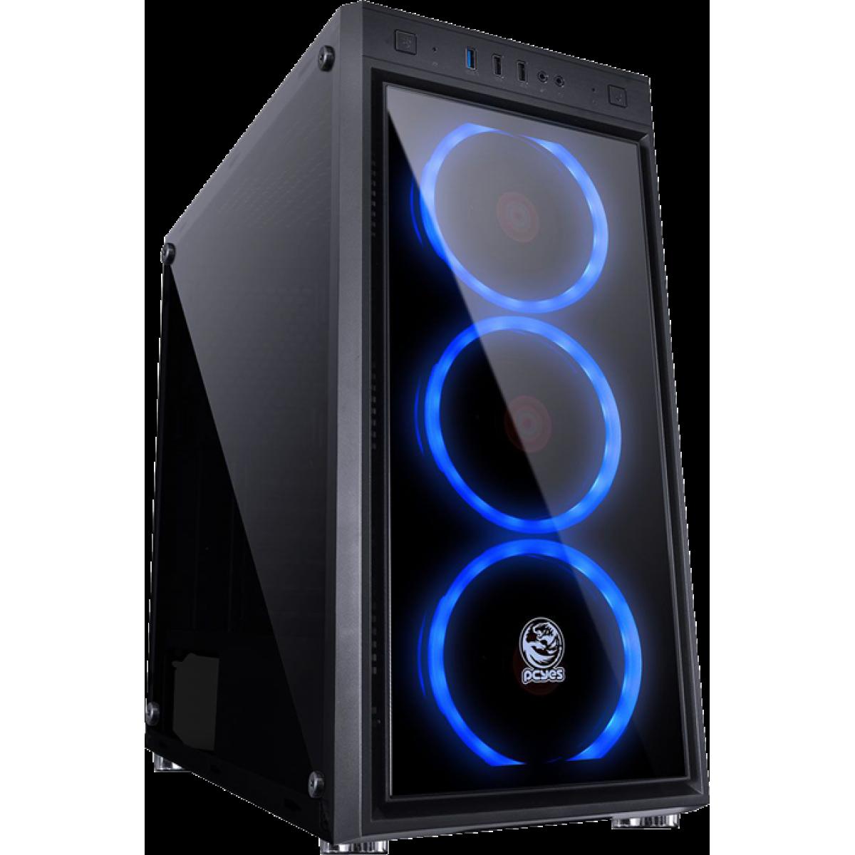 Gabinete Gamer PCyes Jupiter Vidro Temperado Mid Tower JUPPTAZ3FCV c/ 3 Fan LED Azul S/ Fonte Preto