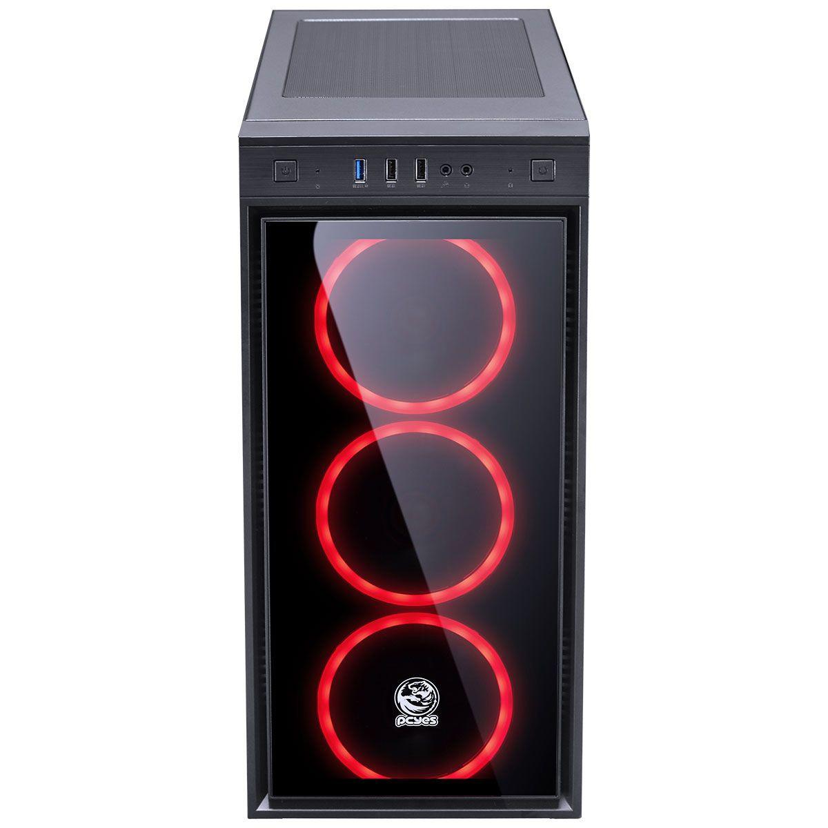 Gabinete Gamer PCyes Jupiter, Mid Tower, Com 3 Fans Red, Vidro Temperado, Black, S-Fonte  JUPPTVM3FCV