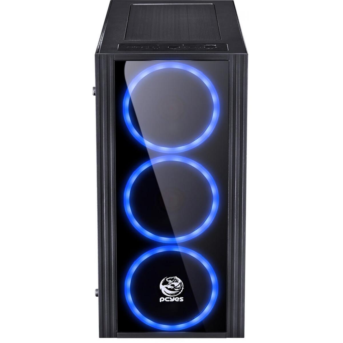 Gabinete Gamer PCyes Saturn, Mid Tower, Com 3 Fans Blue, Lateral de Acrílico, Black, Sem Fonte, SATPTAZ3FCA