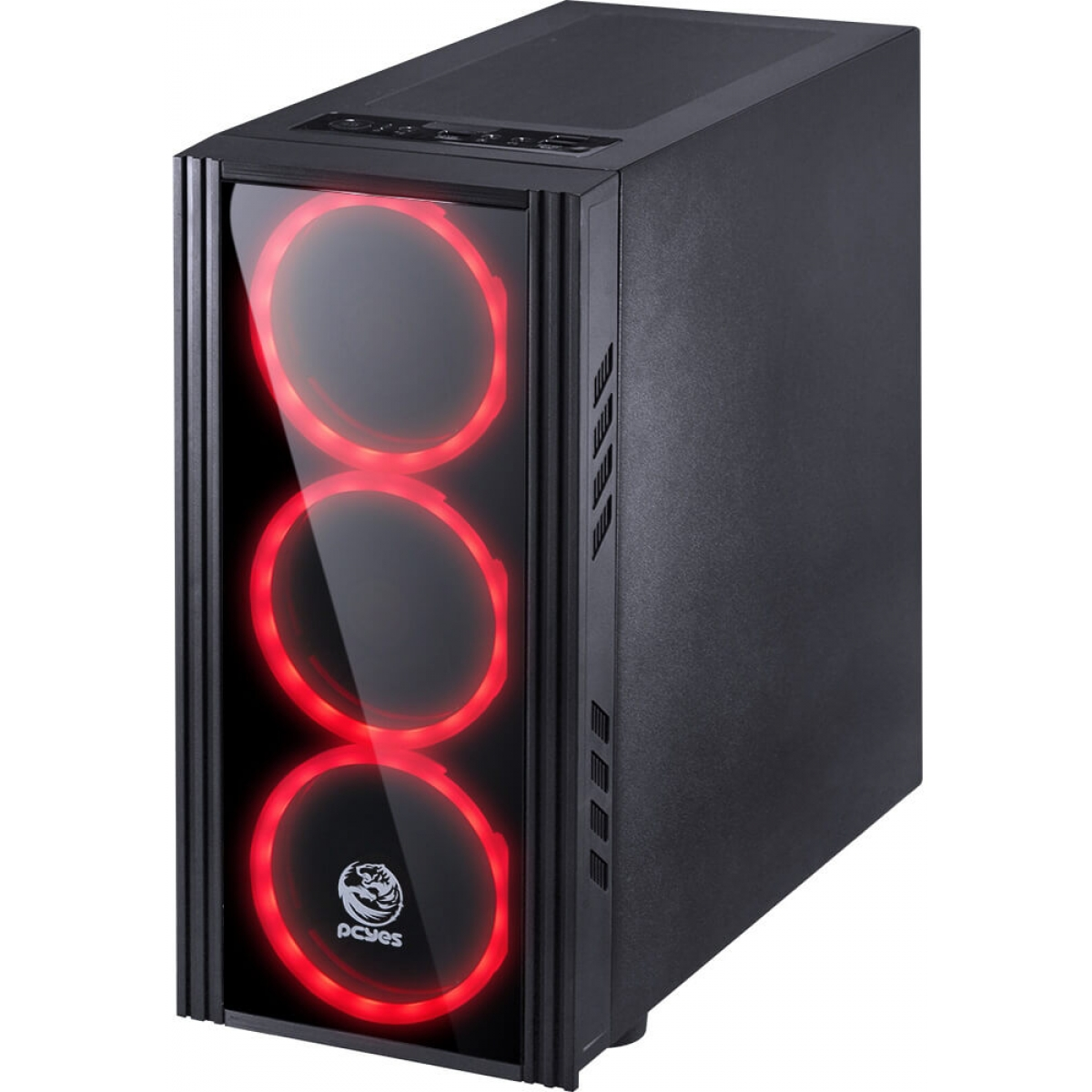 Gabinete Gamer PCyes Saturn Mid Tower Com 3 Fans Red