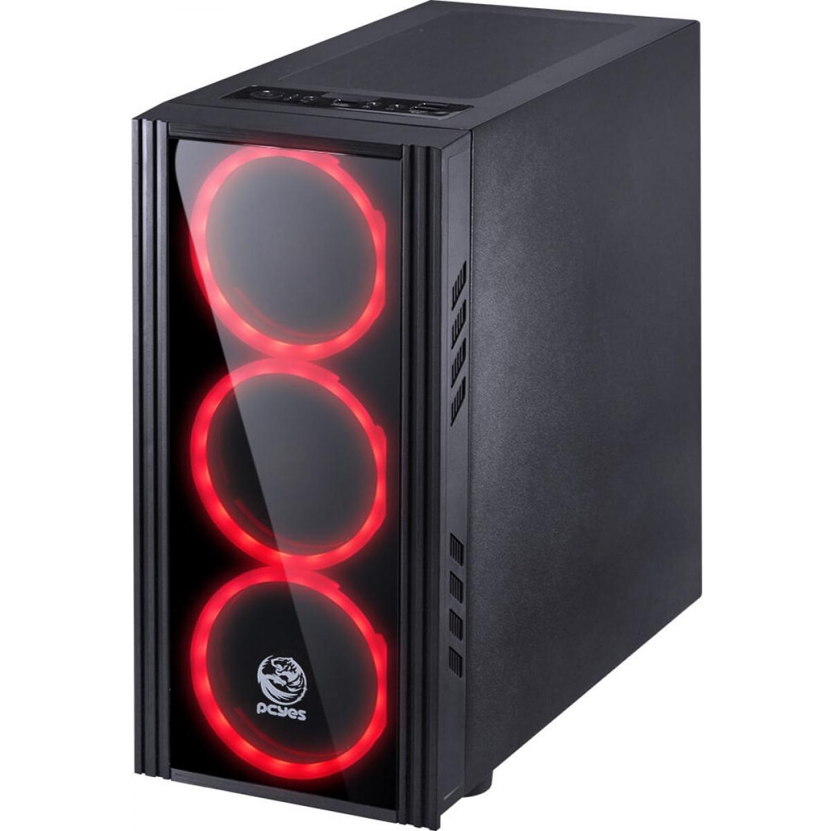 Gabinete Gamer PCyes Saturn, Mid Tower, Com 3 Fans Red, Lateral de Acrílico, Black, S-Fonte, SATPTVM3FCA