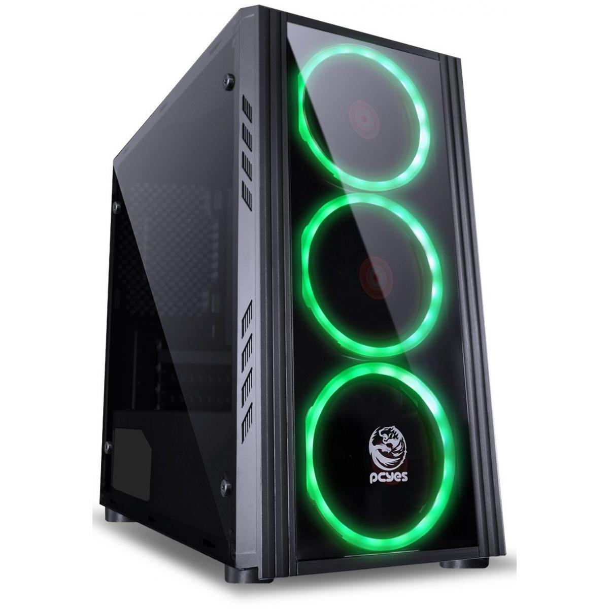 Gabinete Gamer PCyes Saturn, Mid Tower, Com 3 Fans Green, Lateral de Acrílico, Black, Sem Fonte, SATPTVD3FCA
