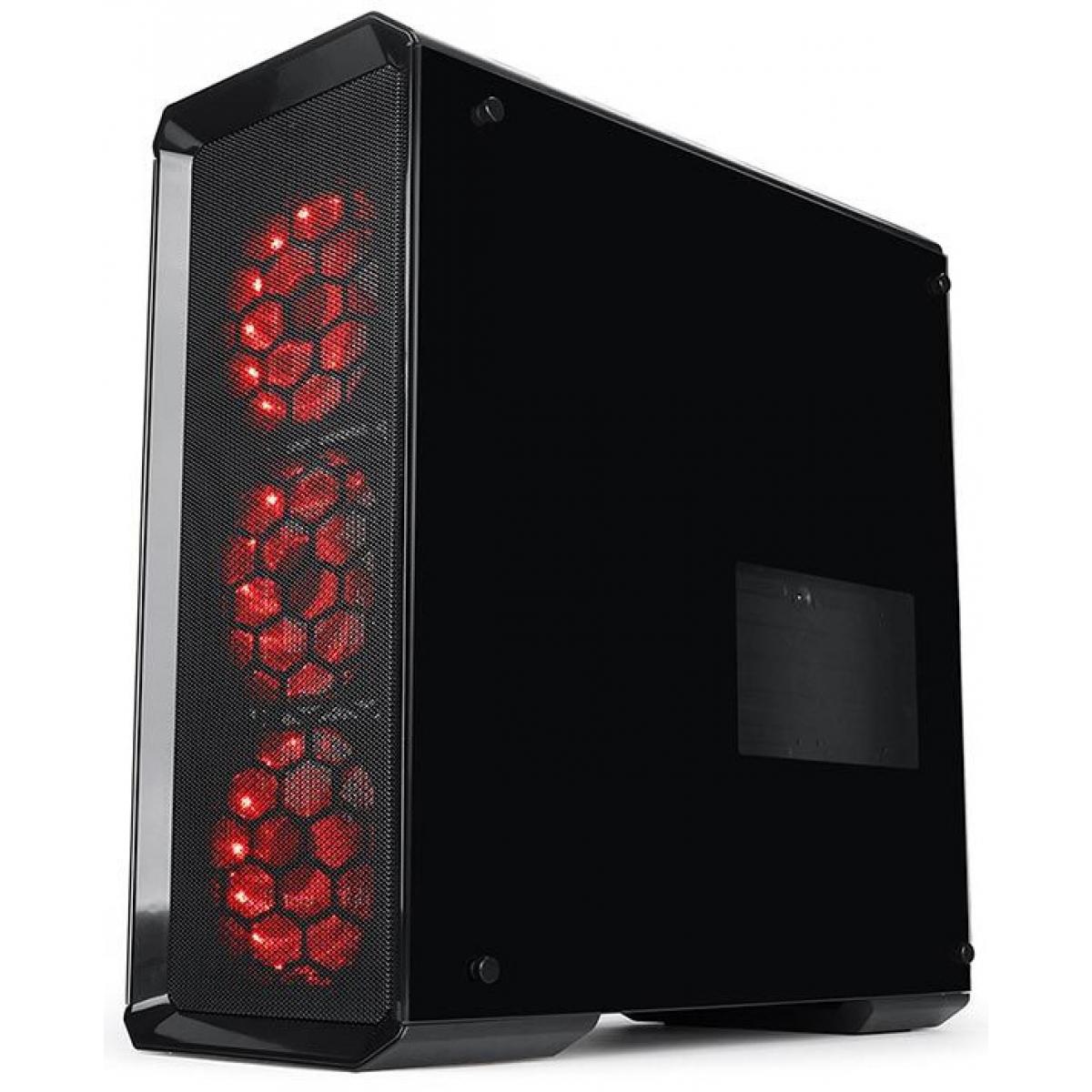 Gabinete Gamer Redragon, Grimlock RGB, Mid Tower, Vidro Temperado, Black, Sem Fonte, Com 3 Fans