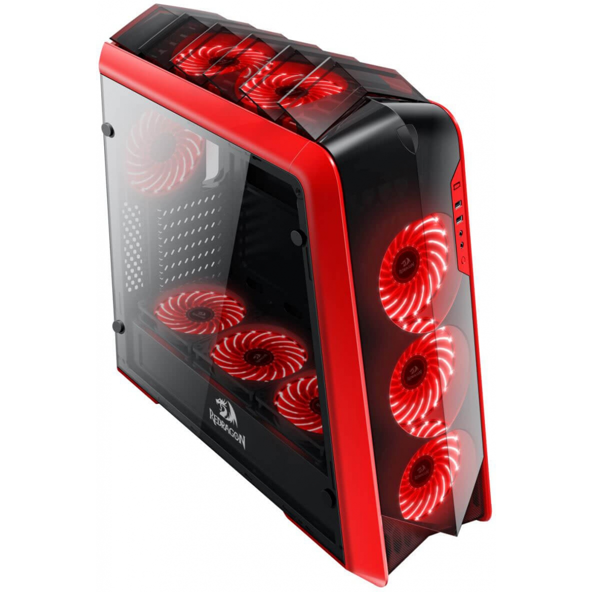Gabinete Gamer Redragon Jetfire, Mid Tower, Com 3 Fans RGB, Vidro Temperado, Black-Red, Sem Fonte, RD-GC-701