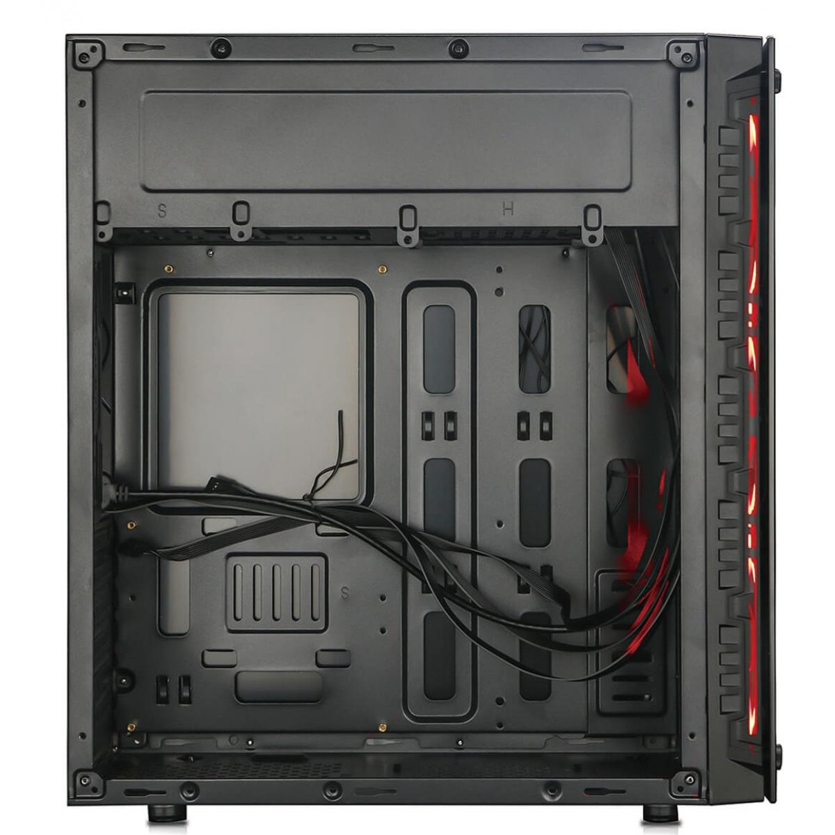 Gabinete Gamer Redragon Trailbreaker, Mid Tower, Com 3 Fans RGB, Vidro Temperado, Black, Sem Fonte, RD-GC-603