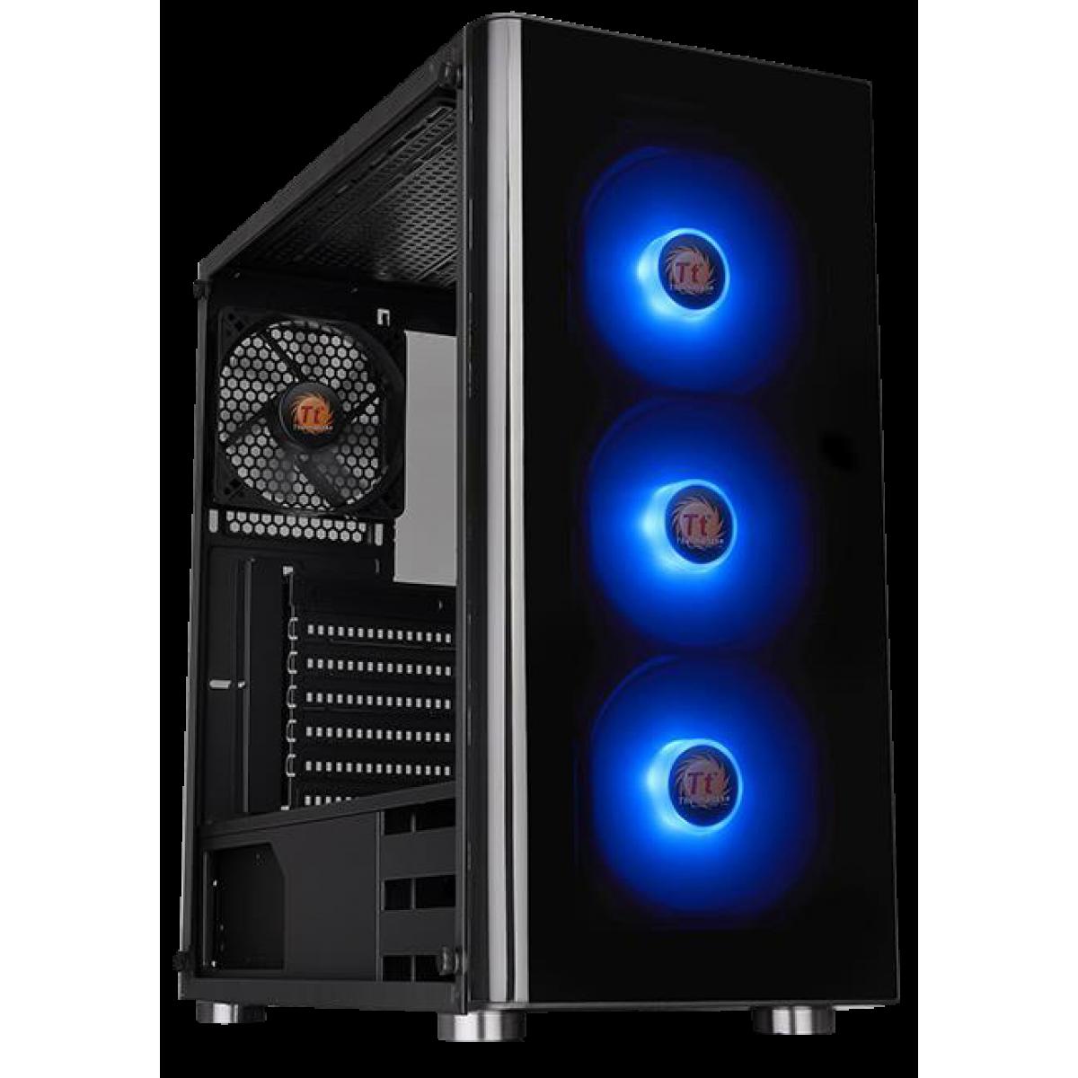 Gabinete Gamer Thermaltake V200 RGB, Mid Tower, Com 4 Fans, Vidro temperado, Black, S-Fonte, CA-1K8-00M1WN-01