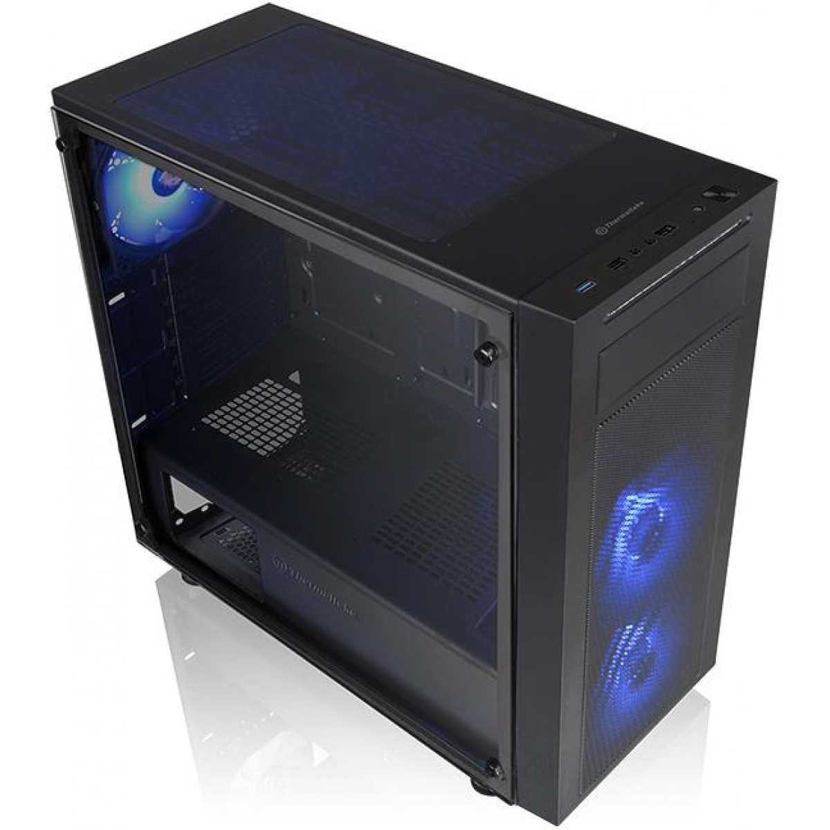 Gabinete Gamer Thermaltake Versa J22 RGB, Mid Tower, Vidro temperado, Black, Sem Fonte, Com 3 Fans, CA-1L5-00M1WN-01