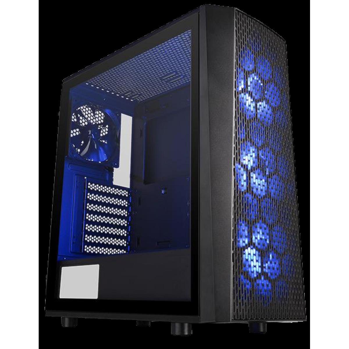 Gabinete Gamer Thermaltake Versa J24 RGB, Mid Tower, Com 4 Fans, Vidro temperado, Black, Sem Fonte, CA-1L7-00M1WN-01