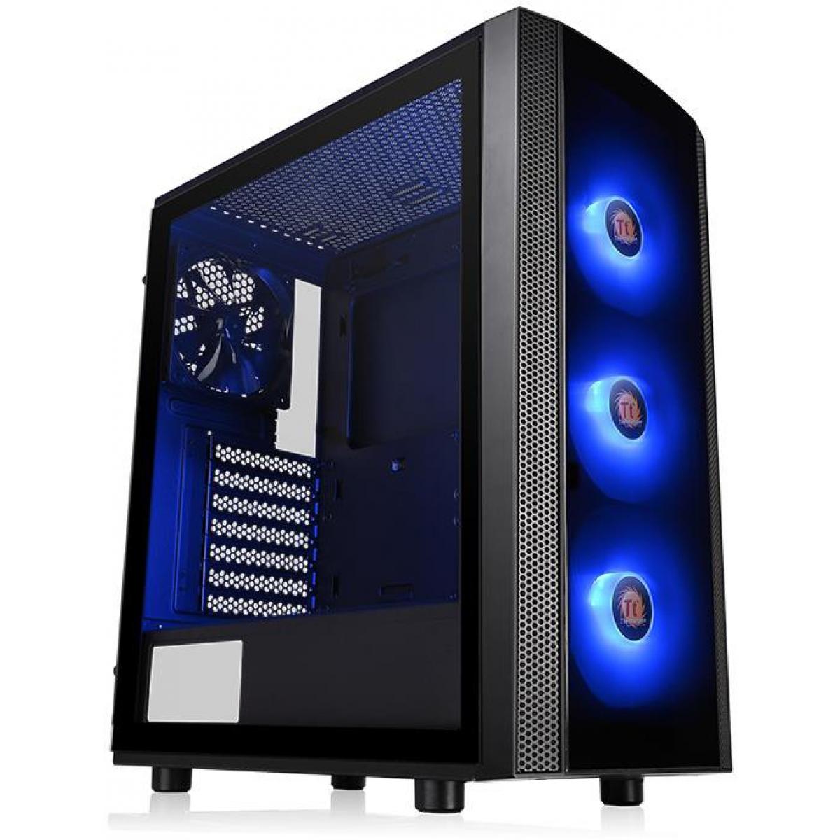 Gabinete Gamer Thermaltake Versa J25 RGB, Mid Tower, Com 4 Fans, Vidro Temperado, Black, S-Fonte, CA-1L8-00M1WN-01