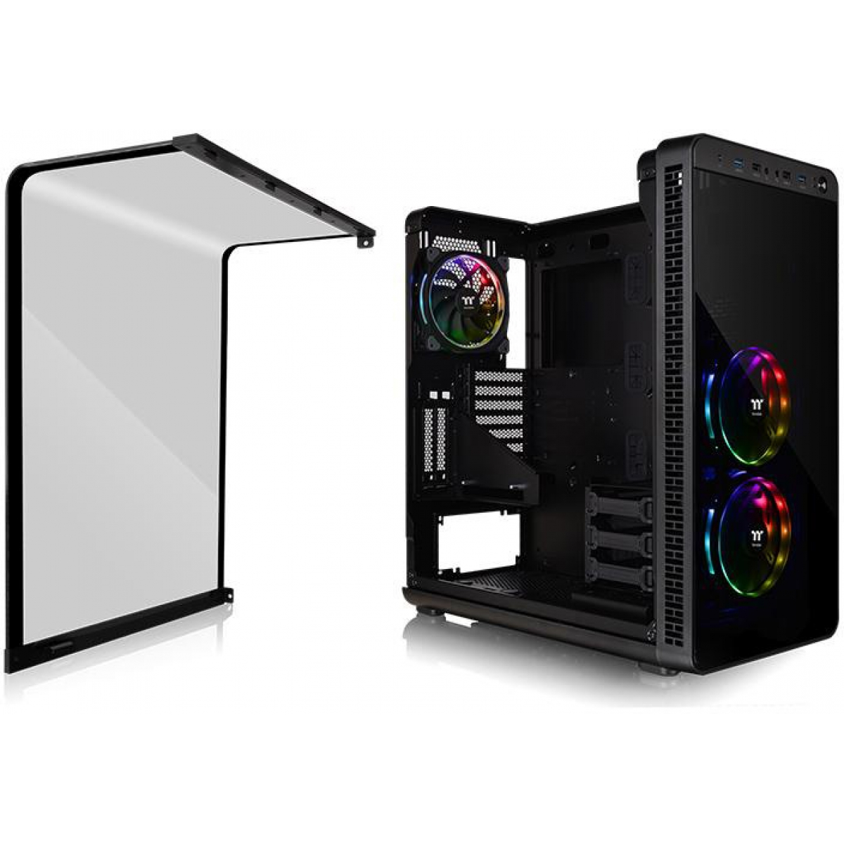 Gabinete Gamer Thermaltake View 37 RGB, Mid Tower, Com 3 Fans, Black, S-Fonte, CA-1J7-00M1WN-01