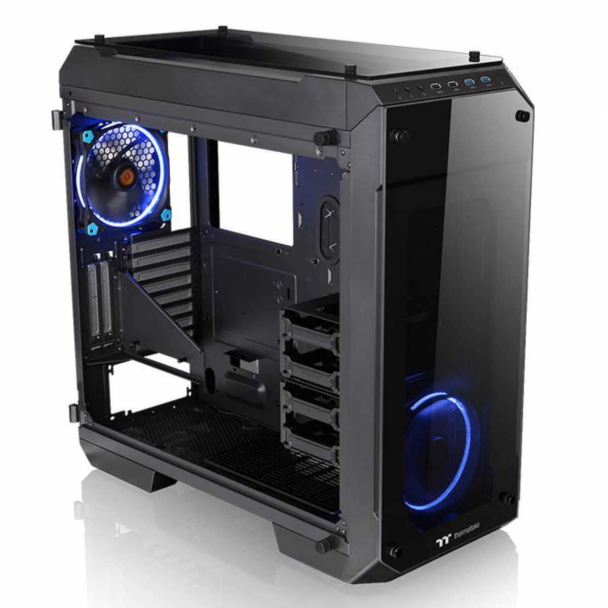 Gabinete Gamer Thermaltake View 71 RGB, Full Tower, Com 3 Fans, Vidro Temperado, Black, Sem Fonte, CA-1I7-00F1WN-01