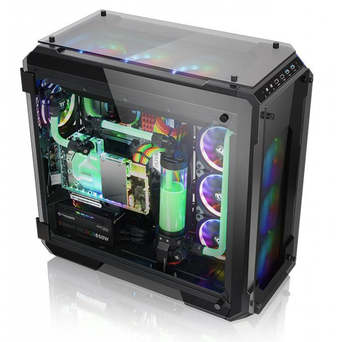 Gabinete Gamer Thermaltake View 71 RGB, Full Tower, Com 3 Fans, Vidro Temperado, Black, S-Fonte, CA-1I7-00F1WN-01