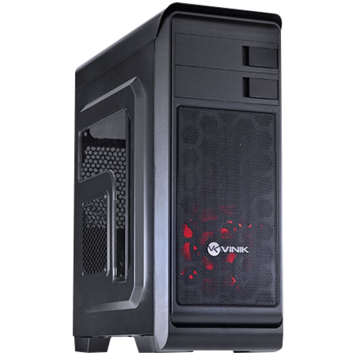 Gabinete Gamer Vinik Hunter Window, Mid Tower, Com 1 Fan Red, Black, S-Fonte