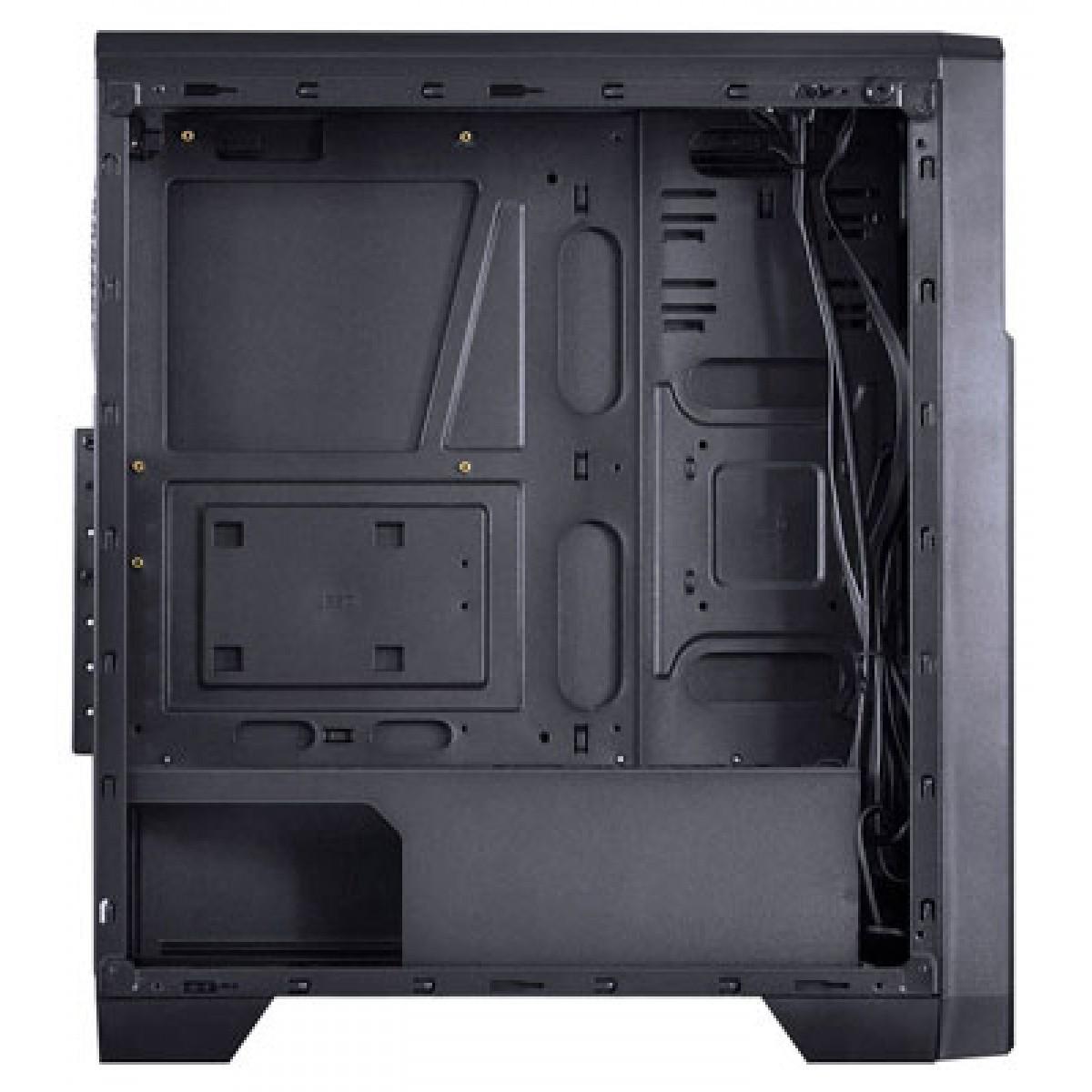 Gabinete Gamer Vinik VX Lumia Fumê, Mid Tower, Com 3 Fans, Black, Sem Fonte