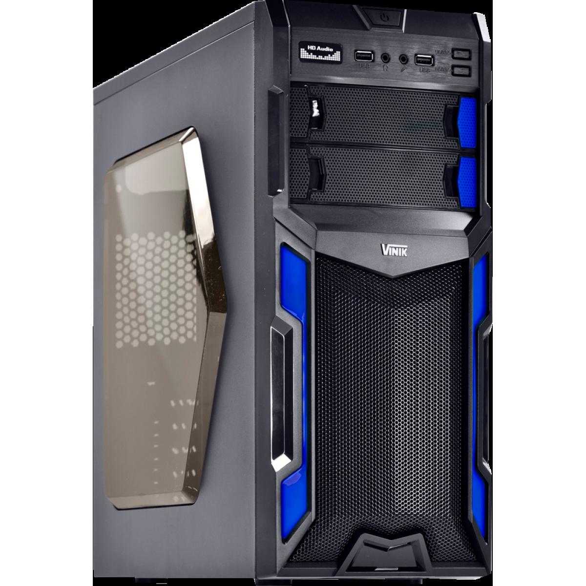 Gabinete Gamer Vinik VX Typhoon Window, Mid Tower, Black-Blue, S-Fonte