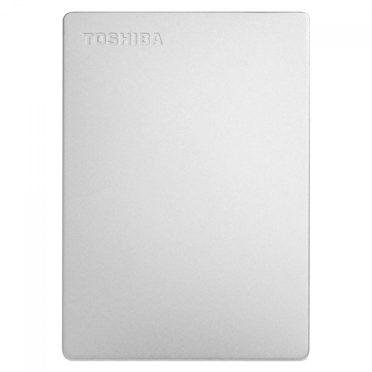 HD Externo Toshiba Canvio Slim 2TB, USB 3.0, Silver, Até 5Gb/s, HDTD320XS3EA
