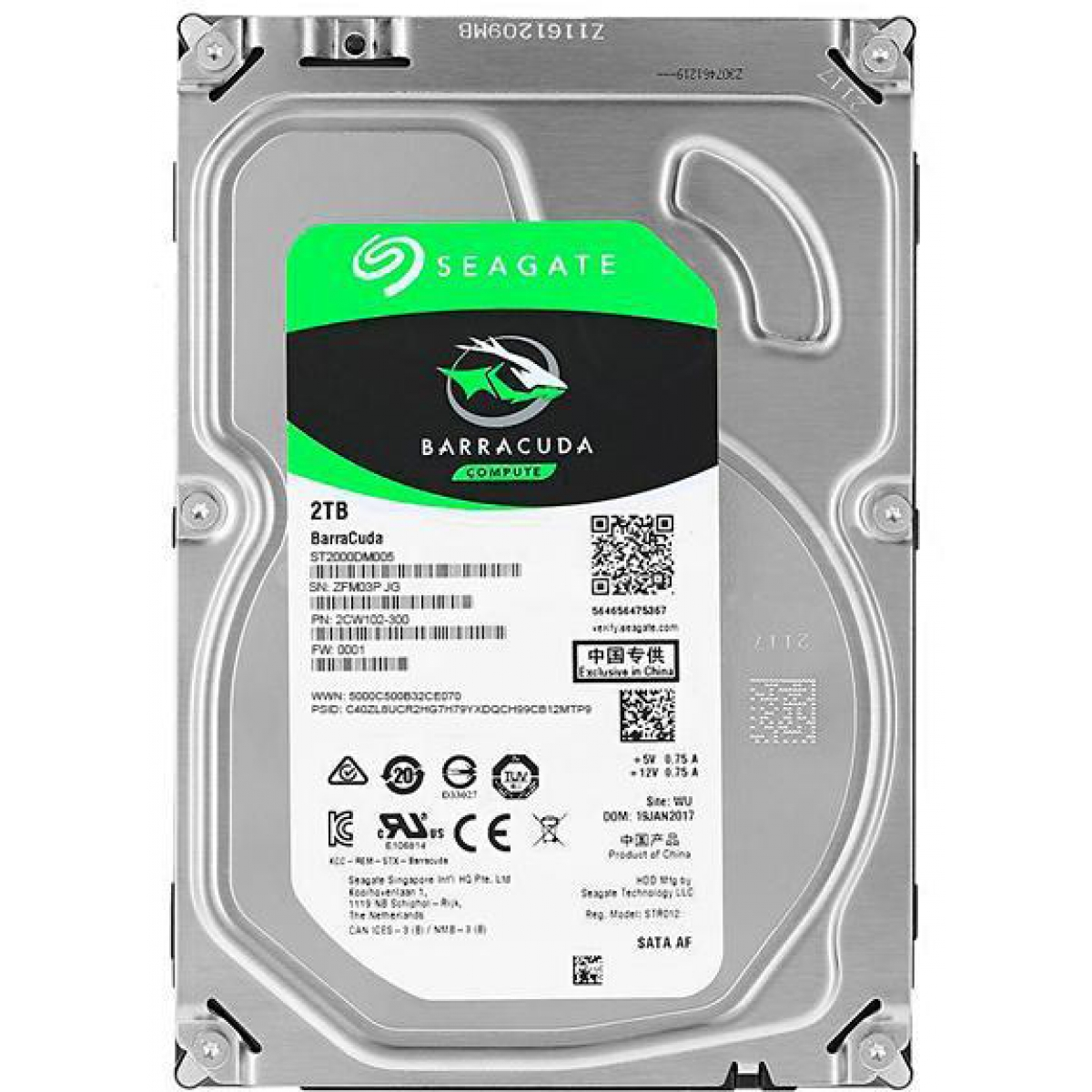 HD Seagate Barracuda 2TB, Sata III, 5400RPM, 256MB, ST2000DM005