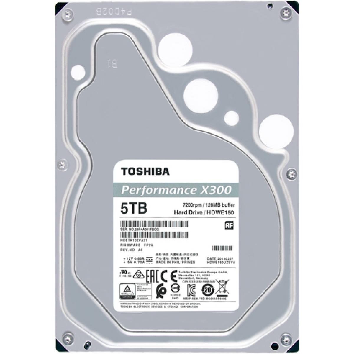 HD Toshiba 5TB X300 Performance e Gaming HDWE150XZSTA 7200 RPM 128MB Sata III Box