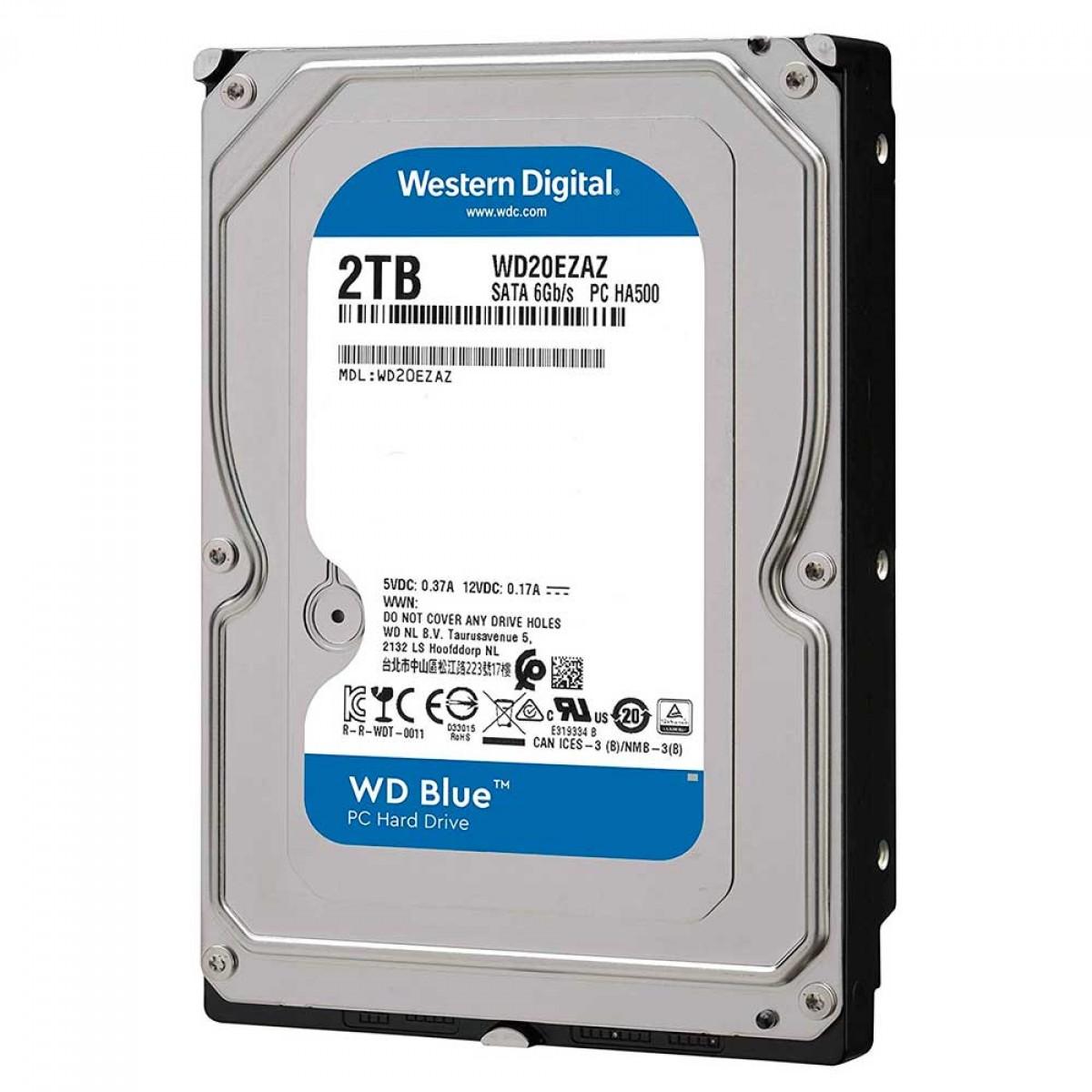 HD Western Digital Blue, SATA III, 2TB, 5400RPM, 256MB, WD20EZAZ