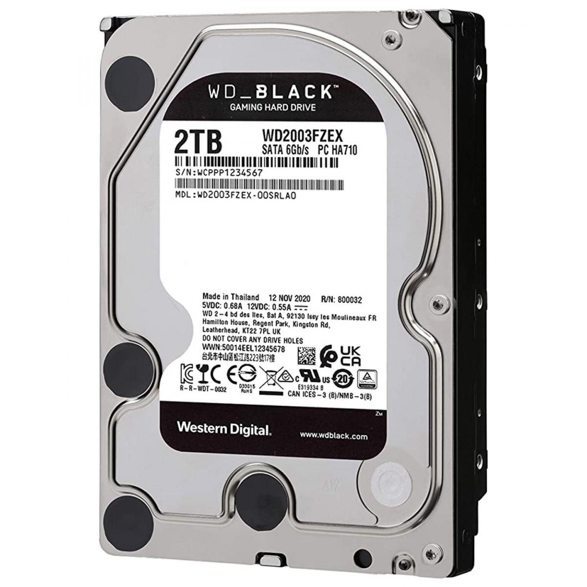 HD Western Digital Black Performance, 2TB, Sata III, 7200RPM, 64MB, WD2003FZEX